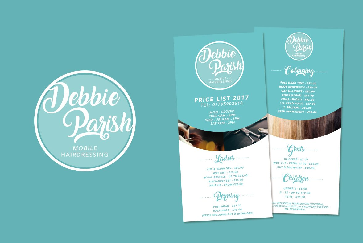 Debbie Parish Mobile Hairdressing Logo Design And Flyer
