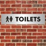 toilets sign banner