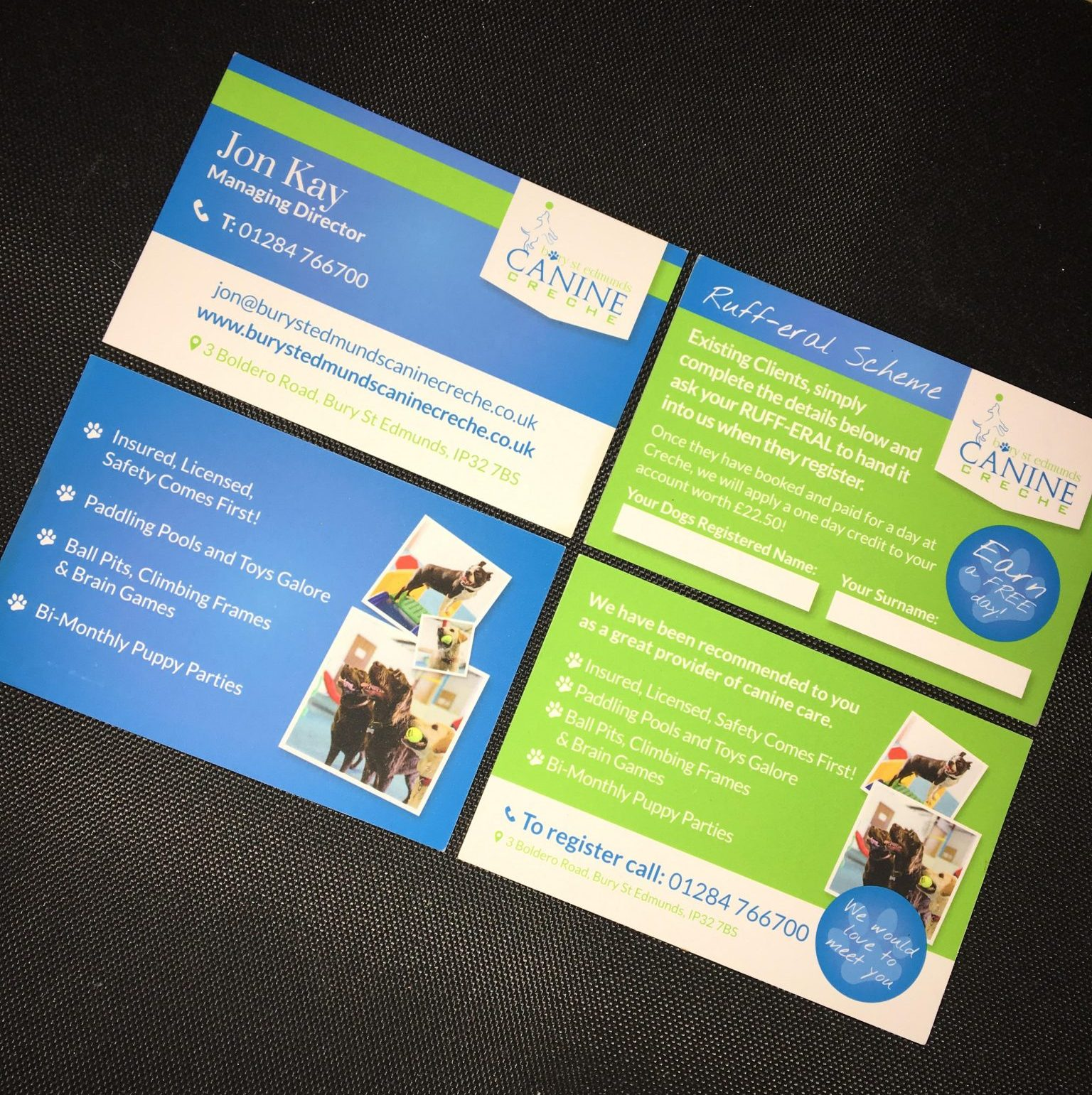 Canine Creche Business Cards!